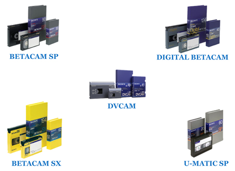 We offer BETACAM SP, DVCAM, DIGITAL BETACAM, BETACAM SX and 3⁄4 inch U-MATIC tape transfer